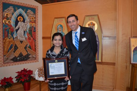 President Peri with Mother Josaphat medal nominee