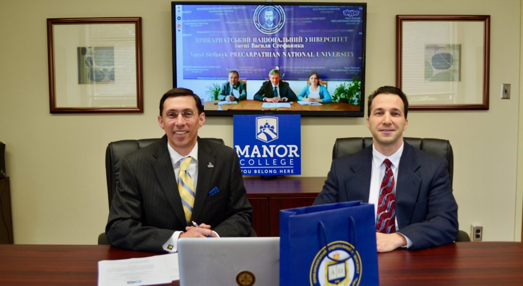 President Peri and Dr. Stephen Grieco, Vice-President of Academic Affairs at the partnership Skype signing with Vasyl Stefanyk Precarpathian National University.