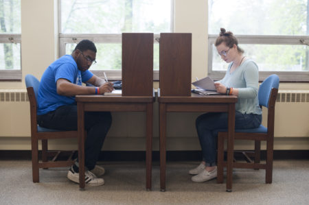 students study in Manor College library