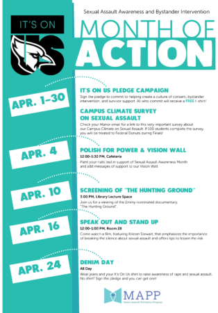 it's on us sexual assault awareness week at Manor College in Philadelphia